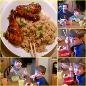 Dinner!  The whole family had fun with the chop sticks!